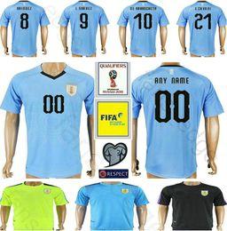 Wholesale Uruguay Soccer - 2018 World Cup Uruguay Football Jersey GODIN RODRIGUEZ 8 MAINDEZ 9 L.SUAREZ 10 DE ARRASCAETA 21 E.CAVANI Custom Blue Soccer Shirt