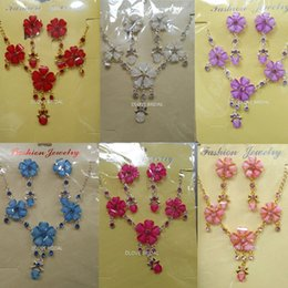 Wholesale Pink Necklace Lobster Clasp - Real Photo Bridal Jewelry Set Wedding Red Blue Pink White Purple Necklace and Earrings Photo Bride Evening Prom Party Homecoming Accessories