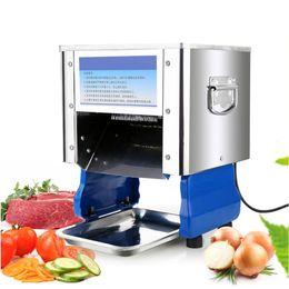 Cortador de carne eléctrico online-Qihang_top Inicio Eléctrico Comercial Shred Dice Meat Verduras Cutter Cutting Machine Industrial Fresh Meat Slicer Price