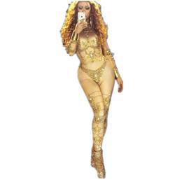 trajes de baile para mujeres Rebajas Cantante de cristales de oro sexy traje de estiramiento grande Fiesta Show Traje Danza Rendimiento Desgaste Cantante femenina Traje mono Mujeres