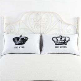 Wholesale Print Cases - 1 pair set White King Queen Pillow Cases Love Couple Pillowcase His and Hers Personalized Pillow Cover For Anniversary Wedding Gift