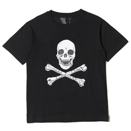 Cráneos de la ropa de las mujeres online-Vlone T-shirt hombres camiseta del cráneo harajuku camiseta rock hip hop patineta calle mujeres streetwear marca de ropa de algodón de verano camisetas tops 2019