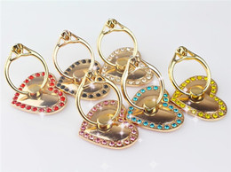 Wholesale diamond bling heart iphone - Love Heart Metal Ring Holder Cartoon Mobile Phone Stents Bling Diamond Ring Phone Holder with retail package For iphone samsung cell phone