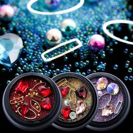 Tamaños de formas de diamante online-Diamantes de imitación de metal para el arte del clavo Glitter Decorations Diseño no Hotfix Stones Diamond AB Color de diferentes tamaños forma Joyas