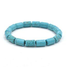 pietra blu della porcellana Sconti Braccialetto elastico di pietra elastica della perla blu 8Mmx12Mm Braccialetto elastico degli uomini di vendita del fornitore della Cina Nuovi monili di modo dei prodotti