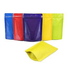 2019 sacs de doypack Papier d'aluminium coloré de 13cmx18cm tenir des poches serrure de fermeture éclair sac de stockage de café de thé de Doypack sac de Mylar avec la tirette LX0679 promotion sacs de doypack