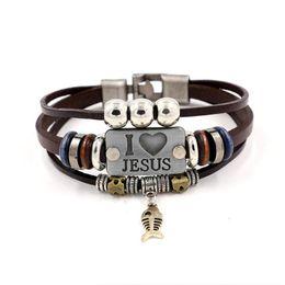 Pulsera de cuero de jesus online-AMO JESUS Charm Bracelets Vintage Fish colgante Christian pulseras de cuero de múltiples capas para hombres mujeres brazalete KKA1905