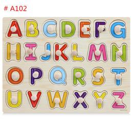 2019 образовательный английский планшет Детские головоломки интеллект развития 26 букв животные фрукты деревянная доска для младенцев образование обучающие игрушки бесплатная DHL A736