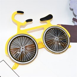 Wholesale Bicycle Party Decorations - Funny Glasses Yellow Bicycle Shape Design Sunglasses Dancing Party Decoration Masks Masquerade Eyeglasses Props High Quality 7 5sf Z