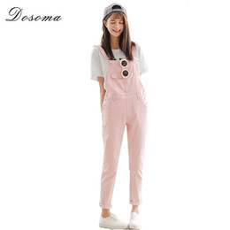 Wholesale Korean Girl Jeans - 4 Colors Denim Jumpsuit 2017 Korean Preppy Style Fashion Pocket Womens Jeans Jumpsuit Girls Casual Denim Overalls Skinny Women