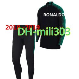 Wholesale Men S Uniform Jackets - 2018 2019 World Cup RONALDO soccer jacket tracksuit 18 19 PORTUGAL FR Training suit pants football training sportswear Sweater set uniform