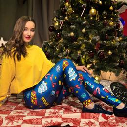 Ceinture bleu en Ligne-Nouveau pantalon pour femmes avec impression de vacances de Noël ceinture élastique à la taille Stretch slim leggings bleus pantalon crayon