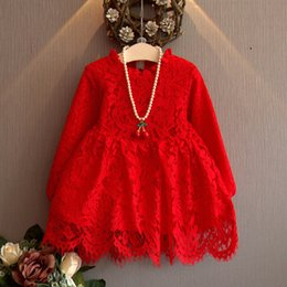 Wholesale Western Style Cotton Dresses - A children's clothing on behalf of spring 2018 new Western Style Lantern Sleeve Lace Dress Girls fold collar children