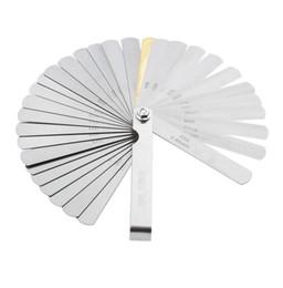 2019 fühlerlehren Edelstahl 32 Klingen Fühlerlehre Metric Gap Filler 0,04-0,88 mm Dicke Gage Für Messung Messwerkzeug rabatt fühlerlehren