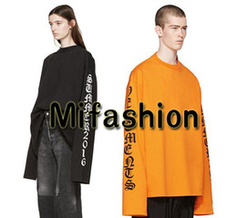 Wholesale G Dragon T Shirt - Unisex 17FW Europe G-dragon GD Fashion Vetements Oversized T shirt Hip Hop Long Sleeve Tshirt Tee Top