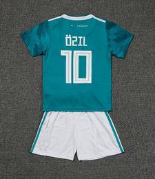 Wholesale Germany National - Kids kit Germany Away 10 OZIL Soccer Jersey 2018 World Cup Child HUMMELS KROOS REUS MULLER National Soccer Shirt Teenagers Football uniforms