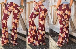 Wholesale Black Floral Flats - Summer new Women Fashion High Waist Bootcut Pants Boho Vintage Casual Pants Skinny Plus Size Wide Leg Trousers Leggings
