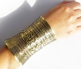 Étnica vintage pulseira de prata on-line-Pulseira Bangles personalidade Bohemian Punk Gold Silver Vintage Mulheres Abrir Cuff Bangle partido étnico Gypsy Tribal Jewelry