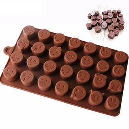 Wholesale silicon baking moulds - Emoji Emotion silicon cake Mold Smiley Chocolate Candy Baking Mould sugarcraft fondant mold Ice Cube Tray Random Color 28-cavity per Sheet