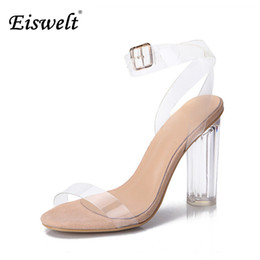 Wholesale Open Toe Transparent Shoes - Eiswelt 2017 Jelly Sandals Open Toe High Heels Women Transparent Perspex Shoes Thick Heel Clear Sandals Plus Size35-43#GMJ23