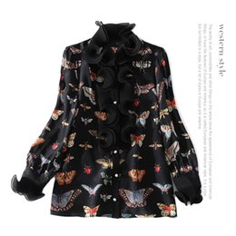Wholesale Ladies Long Tops Designs - 2018 Spring Black Fashion Butterfly Print Long Sleeves Ruffle Real Silk Soie Lady Top Blouse Women Brand Design D12
