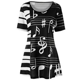 Nota online-T Shirt Mujeres tallas grandes 5xl Piano Key Music Note Print Túnica Top Camisetas Casual T-shirt Summer O Neck Short Sleeve Tee Mujer