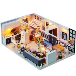 2019 jouet de maison de poupée Poupée À La Main Maison Meubles Miniatura Diy Poupée Maisons Miniature Dollhouse Jouets En Bois Pour Enfants Adultes Cadeau D'anniversaire jouet de maison de poupée pas cher