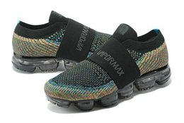 Wholesale Womens Slip Sneakers - 2018 Wholesale Vapormax Moc Mens Womens Multicolor Triple Black Running Shoes Racer Vapor Sports Runner Breathable Sneakers 36-45