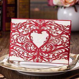 Hacer tarjetas de invitación online-Hueco Originalidad Invitaciones Papel Tarjeta en forma de corazón Suministros de banquete de boda Hecho a mano Creativo Exquisito Tarjetas de felicitación 4 2hs jj