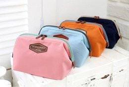 Wholesale Pillow Kits - Women's Makeup Cosmetic Cases Fashion Travel Kit Solid 4 Colours Organizer Bag For Lady Small Zipper Cosmetic Bags Free Shipping