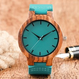 Wholesale Plastic Birthday Gifts - Creative Blue Nature Wood Men's Bamboo Wooden Watch Genuine Leather Sport Quartz Wrist Watches Analog Birthday Gift Clock Reloj de madera