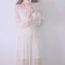 Wholesale korean two piece dresses - Luxury Women for Dress Summer korean Super cents Moon and stars embroidered gauze dress Sexy Vadim Plus Size Two-piece Dresses