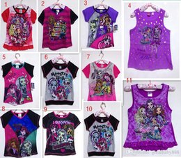 Wholesale Baby High Neck Tops - New monster high Baby Girls T-shirt cartoon cotton monster high children Tee tops kids clothing 11 styles free shipping C1014