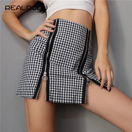 Wholesale Sexy Plaid Mini Skirt - Plaid Sexy Zipper High Waist Skirts Women A-line Fashion Cotton Elegant OL Winter Black Mini Skirt Shorts Front Spilt Skirts