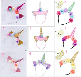 Wholesale Kids Hair Supplies - Party Supplies Kids Gift Unicorn Horn Hairband Kids Unicorn Headband Hair Accessories Flower Hair Clasp Cosplay Crown Baby Headband Cat Ears