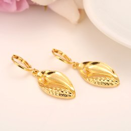 Wholesale Leaf Cuff Earrings - 24 k Solid Fine Gold Color Filled leaf Earrings Women Girl,Love Trendy Jewelry for African Arab Middle Eastern party jewelry