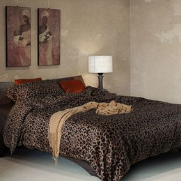 Wholesale Cotton Leopard Sheets - 3d leopard print bedding sets 4 piece egyptian cotton satin twin duvet cover queen size bed sheets free shipping