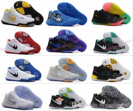 Wholesale Bright Yellow Fabric - New Kyrie Irving Black White Men Basketball Shoes Kyrie 3 Bright Crimson Tie Dye BHM All Star Basketball Sneakers High Quality Running Shoes