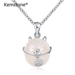 Полудрагоценные камни ювелирные изделия из стерлингового серебра онлайн-Kemstone мода стерлингового серебра ожерелье цепь Lucky Cat полудрагоценный камень кулон ожерелье ювелирные изделия оптом