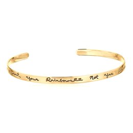 Wholesale Count Day - Fashion Stainless Steel I love You To The Moon Count Your Rainbows Not Your Thunderstorms Minimalist Opening Bracelets Bangle for Women