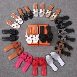 Wholesale Korean Fashion Slippers - Free delivery 2018 new French leather slippers women's summer fashion wear Korean joker flat sandals beach shoes
