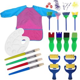 Wholesale Roller Brush Painting - Wholesale Kids Painting Tools for Boys Girls Include Round Sponge Brushes Nylon Hair Paintbrushes Roller Brayer Flower Brushes Palette Apron