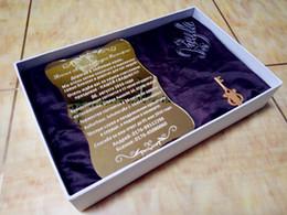 """Canada Invitations de mariage personnalisées par or d'or 2018 de haute qualité, carte d'invitations acryliques d'or (6.5 """"x4.5"""" xT1 / 12 """") Offre"""