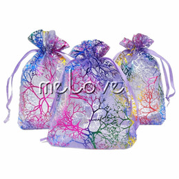 Wholesale drawstring jewelry pouch purple - 100 Pcs   lot Purple Coral Organza Drawstring Pouches 7 X 9cm (2.7X 3.5 inch) Jewelry Wedding Favor Gift Bags Impressive Bags Ideal Packing