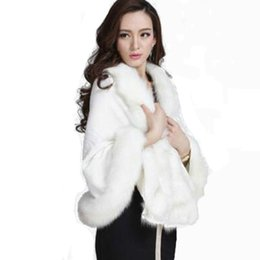 Wholesale Large Shawl Wrap - Winter Warm Knitting wool cloak Cashmere Shawl Pashmina faux fox fur large scarf Wraps Imitation Rabbit Fur hair Poncho cape