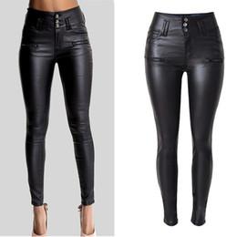 Calças cintura alta mulheres on-line-Olrain Senhora de Cintura Alta das Mulheres Sexy Faux Estiramento de Couro Calças Skinny Slim Calças Jeans Frete Grátis