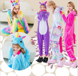Wholesale pyjamas for adults - Flannel Hoodie Star Unicorn Pajamas For Women Adult ChildrenCartoon Sleepwear Winter Animal Homewear Unicornio Pyjama DDA706
