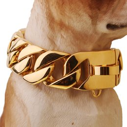 Wholesale collar titanium - Exaggerated Extra-coarse 316L Stainless Steel Golden Cuban Gold Pet Dog Chain Neckaces Collars Choker Necklaces Top quality