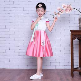 Trajes nacionales tradicionales online-Mejorado Baby Girls Hanbok Vestido Floral Tradicional Coreano Ropa Niños Ropa de Cosplay Traje de la Danza Nacional de rendimiento
