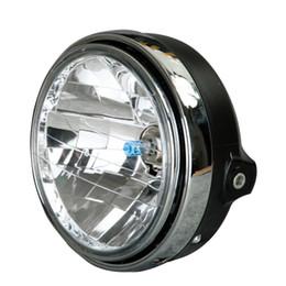 Wholesale Universal Chrome Headlight - Chrome Universal Motorcycle Round Head Light Halogen Headlight Lamp For Honda CB400 CB500 CB1300 Suzuki Kawasaki